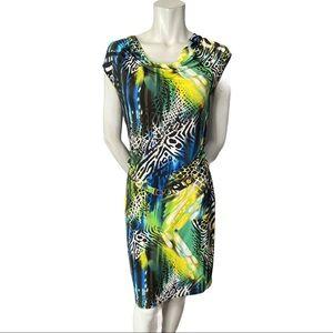 Joseph Ribkoff Zebra and Bold Colour Dress